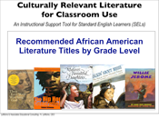 Culturally Relevant Literature — African American